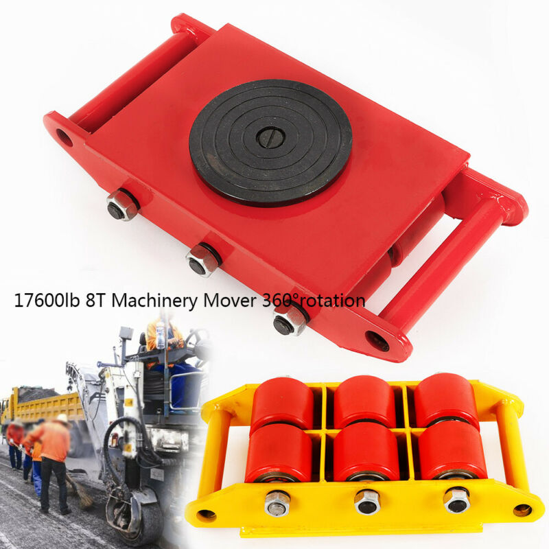 6 Rollers Cast steel+PU 8T 17600lbs Heavy Duty Machinery Mover 360° Rotation US