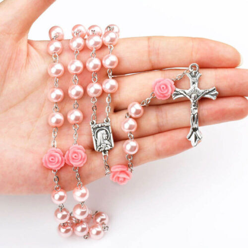 Pink Pearl Beads With Roses Rosary Necklace Lourdes Center Jerusalem Crucifix