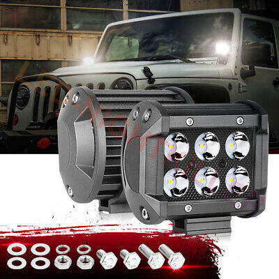 2X 4 18W Cree LED Work Light Bar Pods Spot Off Road 6000k Driving Fog 12V Lamps