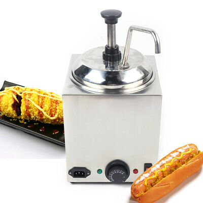 Electric Warmer Pump Dispenser Condiment Melter 2.6qt Square Nacho Cheese Sauce