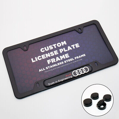 Black Stainless Front Rear For Audi Logo Sport Emblem License Plate Frame Cover