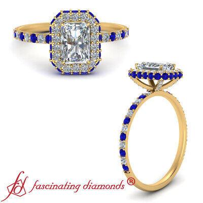 Radiant Cut Diamond Halo Engagement Ring With Round And Sapphire Accents 1.35 Ct
