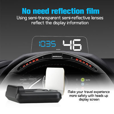 Head Up Display OBD2 Car HUD Projector Speedometer Speed Warning System C500 New