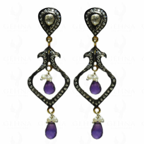 925 Silver Rose Cut Diamond Polki Earrings Amethyst Pearl Antique Look Jewelry