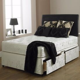 BRAND NEW TOP QUALITY DOUBLE DIVAN BED WITH 9INCH THICK DEEP QUILTED MATTRESS-