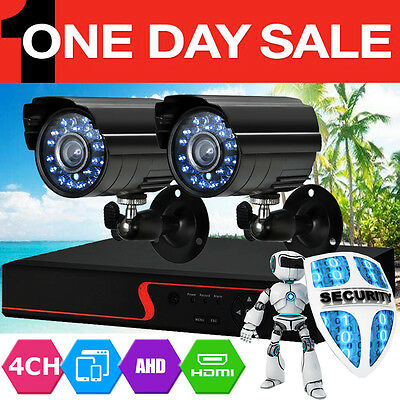 4CH HDMI Outdoor Video 2 CCTV DVR Cameras Home Security System Kit