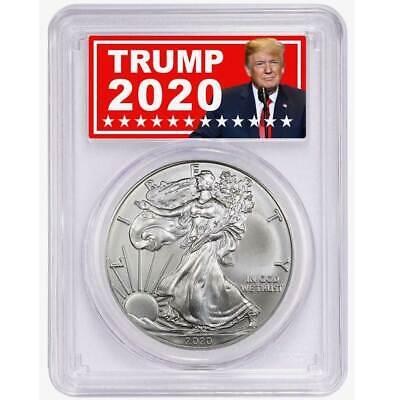 2020 $1 AMERICAN SILVER EAGLE PCGS MS70 FS TRUMP 2020 LABEL