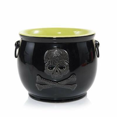Halloween Yankee Candle RAVEN NIGHT SKULL CAULDRON Jar Candle Holder/Candy Dish