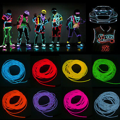 Car Flexible LED Neon Light Glow EL Strip Tube Wire Rope  12V Cigarette Adapter