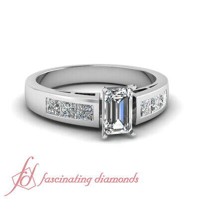 .80 Ct Emerald Cut:Ideal Diamond Channel Set Engagement Ring SI1 GIA Certified