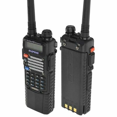 Baofeng Black UV-5R V2+ Dual-Band Ham Two-way Radio w/ 3800 mAh Extended Battery