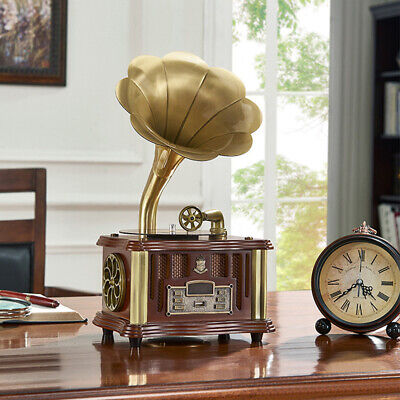 USB Vintage Retro Classic Phonograph Gramophone Speaker Bluetooth Walnut US fast
