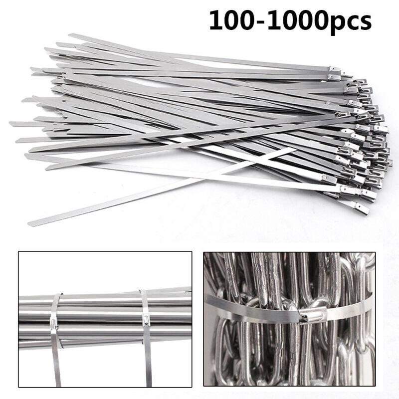 "1000Pcs 12"" 16"" 18"" Stainless Steel Metal Cable Zip Tie Self Lock Strap Strong"