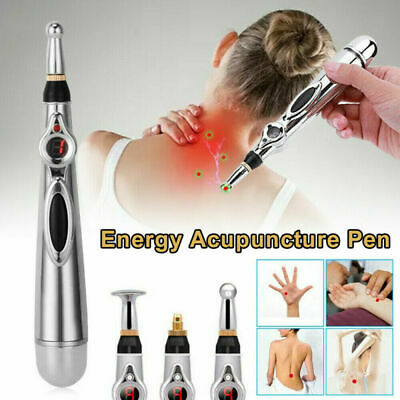 MERIDIAN ACUPUNCTURE PEN WITH 5 HEAL MASSAGE HEAD ENERGY PAIN THERAPY RELIEF USA