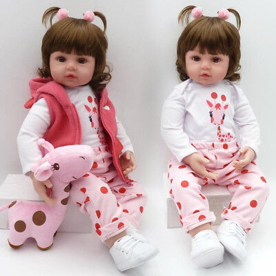 """19"""" Bebe Reborn Baby Girl Doll Clothes Set Soft Silicone Vinyl Newborn Dolls Toy for sale  Shipping to Canada"""