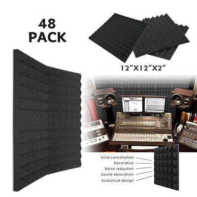 "48 Pack 2""X12""X12"" Acoustic Foam Soundproof Panels Studio Sound Absorption Tiles"