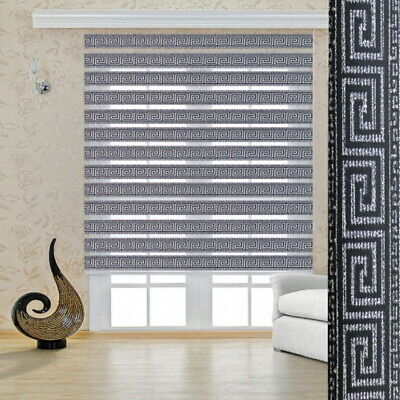 Zebra Blinds Double Roller Black Silver 1A Quality Versace