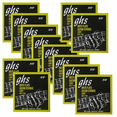 12 Sets of GHS 710 Brite Flats Flatwound Light Electric Guitar Strings 10-46