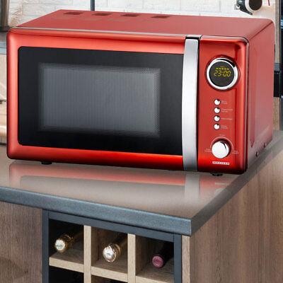 700 Watt Retro Mikrowelle 20 Liter Timer Auftau Funktion 5 Leistungsstufen rot