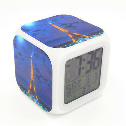 Led Alarm Clock Paris Eiffel Tower Creative Digital Table Clock for Kid Toy Gift