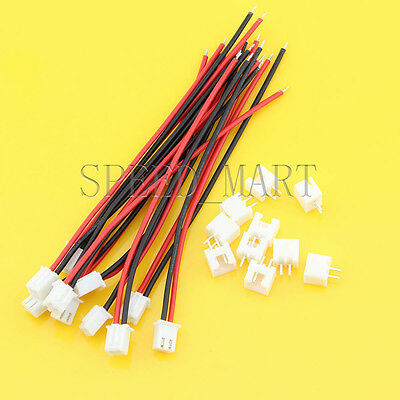 10 Sets XH2.54 Single-Head 2Pin Wire To Board Connector 10cm 22AWG With Socket ()