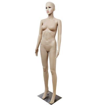Female Mannequin Plastic Display Full Body Head Turns Dress W Iron Base Akimbo