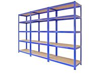 3 Metal Racking Bays, Garage Shelving, Heavy Duty Storage Rack Units