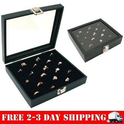 Ring Box Organizer 36 Slots Storage Jewelry Holder Glass Top Display Case Tray