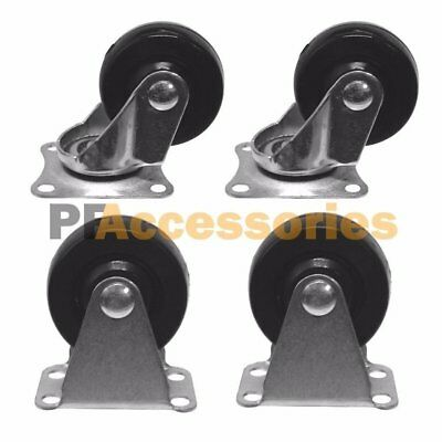 4 Pcs 1.6 Caster Wheels Hard Plastic Base Metal Top 2 Fixed 2 Swivel Set