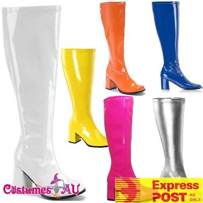 Womens Go Go Knee High White Gogo Boots Hippie Hippy 60s 1960s 80s Disco Shoes (Hippie Shoes 1960s)