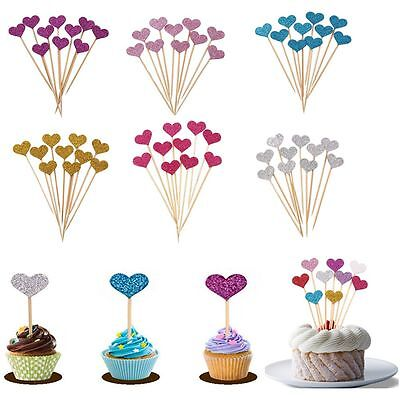 10Pcs Party Cupcake Toppers Decor Love Heart Inserted Card Cake Decoration