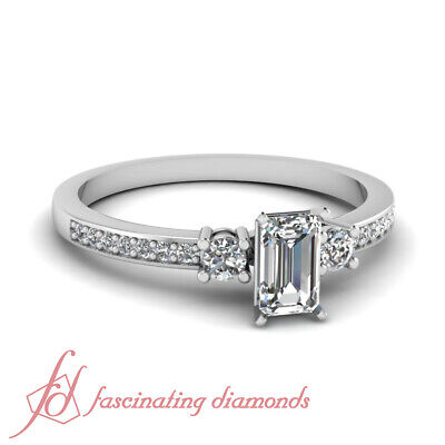 .65 Ct Emerald Cut Natural Diamond Gold Engagement Rings For