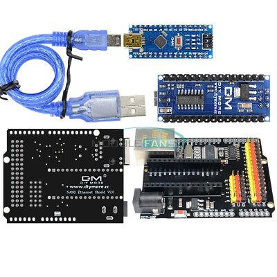 Ethernet Enc28j60 Shield V2.0 Network Atmega328 Ch340g Nano V3.0 Cable F Arduino