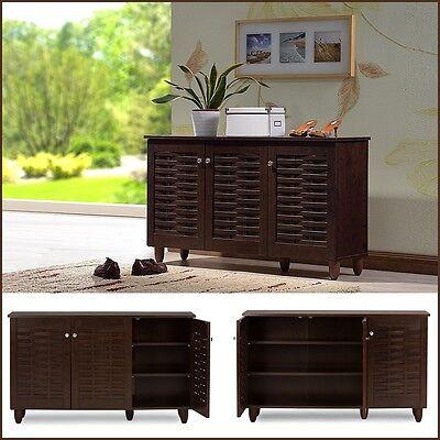 Entryway Wood Shoe Cabinet Storage Rack Organizer Shelves Closet Home -