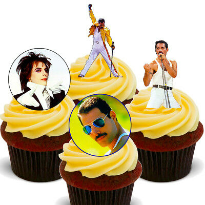 Freddie Mercury  Queen Pack of 12 Edible Cup Cake Toppers, Fairy Bun - Cup Cake Decorations