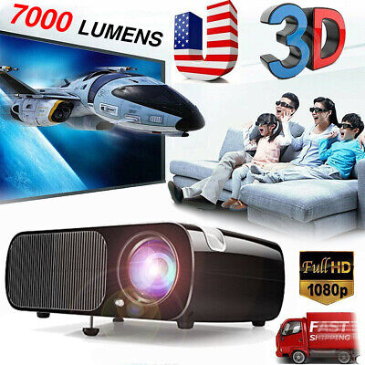 7000 Lumens HD 1080P 3D Multimedia Projector LED Home Theater HDMI USB Cinema HT