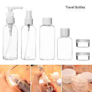 9 Set 100 ML Travel Bottles Lotion Plastic Flight Cosmetic Toiletries Containers