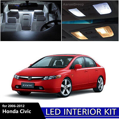 6PCS White Interior LED Light Package Kit for 2006   2012 Honda Civic