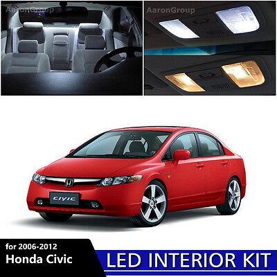 6PCS White Interior LED Light Package Kit for 2006 - 2012 Honda -