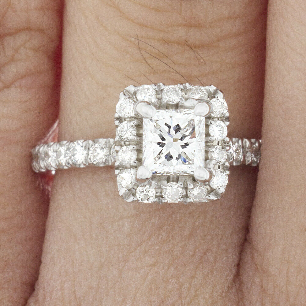 GIA Certified Diamond Engagement Ring 1.37 CTW Princess Cut 14k White Gold