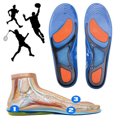 - Pair Silicone Gel Plantar Fasciitis Orthotic Insoles Arch Support Shoe Padded US