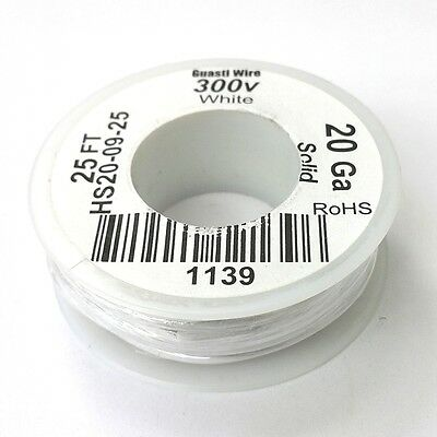 Hs20-09-25 20awg White Pvc Insulated Solid 300 Volt Hook-up Wire 25 Roll