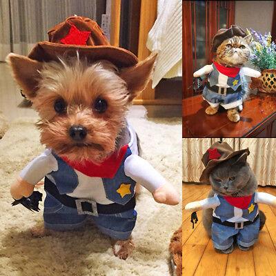 Blue Dog Costume Clothes Cute Cowboy Cosplay Coat Jacket for Puppy Cats - Cowboy Cat Kostüm