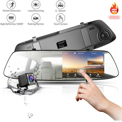 TOGUARD Mirror Car Dash Cam FHD 1080P Touch Screen Dual Lens Reversing Camera UK