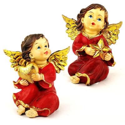 hnachten Farbe rot und Gold - Statue Kunsthandwerk - cm 7,5 (Weihnachten Kunst Und Handwerk)