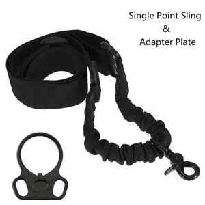 Tactical 1 One Single Point Sling for 2AR Rifle Gun Plate Mount Adapter Black
