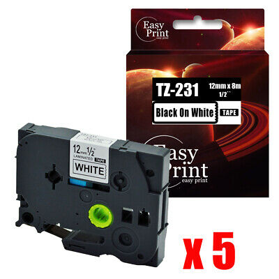 5pk Black On White Label Tz-231 With Brother Tze-231 P-touch Tape 12mm X 8m