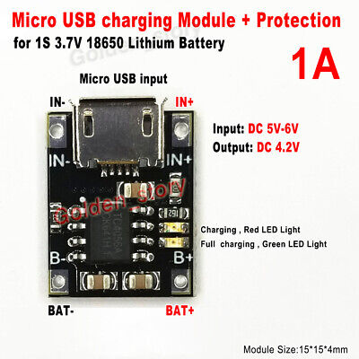 1s 3.7v Cell Lipo Lithium Li-ion Battery Micro Usb Charger Module Charging Diy