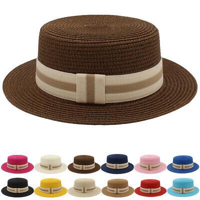 Men Women Kids Children Boys Girls Straw Boater Hats Sailor Sunhat Flat Top Caps