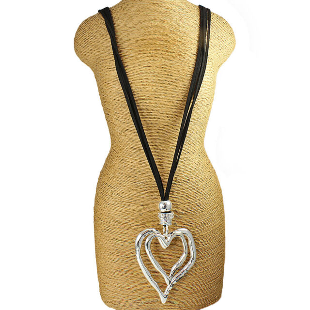 Lagenlook large silver double heart pendant CZ black suede long necklace